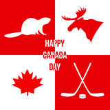 Happy Canada Day. Silhouettes of symbols of Canada. Vector illus Royalty Free Stock Photography