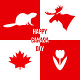Happy Canada Day. Silhouettes of symbols of Canada. Vector illus Stock Photos