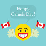 Happy Canada Day! smiley face icon with big smile and orthodontics teeth Royalty Free Stock Photography