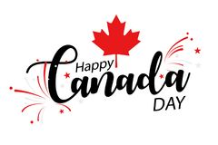 Happy Canada Day. Text 'Happy Canada DAY' in black text illustrated with fireworks and red Maple leaf, white background Royalty Free Stock Photography