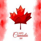 Happy Canada Day vector holiday poster. With red paper cut canada maple leaf. 1th of July celebration background with watercolor Canada flag Royalty Free Stock Photo