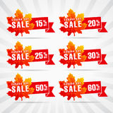 Happy Canada Day vector sale template. Traditional holiday discounts. Maple leaves, white background, light stripes, celebrating % off labels. Web banners Stock Image