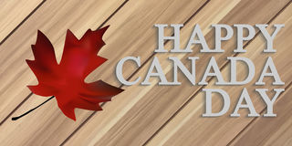 Happy Canada Day. Wooden background with maple leafs. Handwritten text. Vector illustration Stock Image
