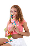 Happy candy girl Royalty Free Stock Image