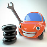 Happy car. Rendering of a smiling car character with tires and wrench Royalty Free Stock Photography