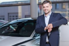 Happy car dealership client Royalty Free Stock Photo