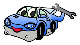 Happy car with a spanner. Happy car illustration with a spanner key in hand Stock Photos