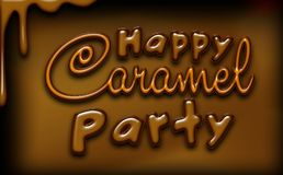 Happy caramel party greeting card, brown colors, glossy effects. Caramel party. Sweet love. Caramel sugar dessert for kids royalty free illustration