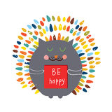 Happy card with funny cat Royalty Free Stock Photos