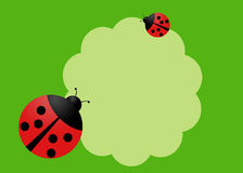 Happy card for an invitation. Happy card with two lady bugs Stock Photos