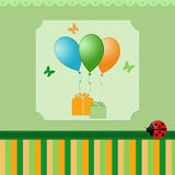 Happy card for an invitation. Card for invitation with balloons Royalty Free Stock Photography