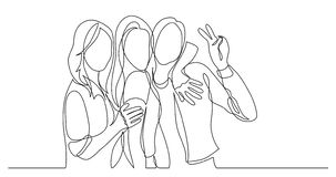 Happy and carefree group of friends posing together - one line drawing royalty free illustration