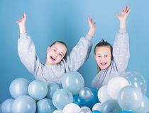 Happy and carefree. Little girls celebrating birthday. Small children having birthday party. Happy kids enjoy birthday. Celebration. Happy birthday stock photo