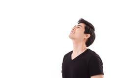 Happy carefree man face up. On white isolated background Stock Photo