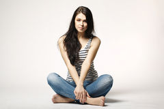 Happy and carefree teenage girl. Bright picture of happy and carefree teenage girl Royalty Free Stock Photography