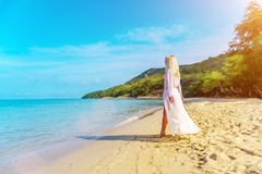 Happy Carefree Woman on the Beach Royalty Free Stock Photo