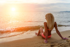 Happy Carefree Woman on the Beach Royalty Free Stock Photography