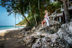 Happy Carefree Woman on the Beach Royalty Free Stock Photos