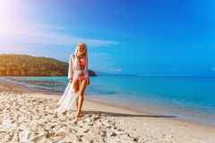 Happy Carefree Woman on the Beach Royalty Free Stock Images