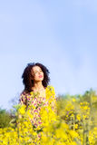 Happy carefree young beautiful girl basking in the sun in the field Stock Images