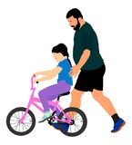Happy caring father teaching his small young pretty daughter riding a bicycle . Happy caring father teaching his small young pretty daughter riding a bicycle Stock Photography