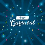 Happy carnaval card. With decorative elements vector illustration graphic design stock illustration