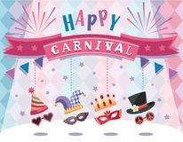 Happy Carnival. Colorful greeting card with festive elements. Flat design. Vector illustration Royalty Free Stock Photo