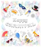 Happy Carnival. Colorful greeting card with funny festive elements and Doodles style objects. All elements are separated. Vector illustration Royalty Free Stock Photography