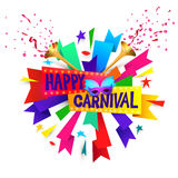 Happy carnival festive concept with musical trumpet, mask, lips and confetti isolated on white background.  Stock Photo