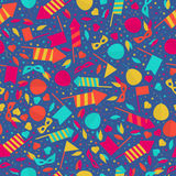 Happy Carnival Festive Seamless Pattern with Mask Firework Rocke. T Stars and Confetti Stock Image