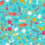 Happy Carnival Festive Seamless Pattern with Mask Firework Rocke. T Stars and Confetti Royalty Free Stock Photography