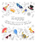 Happy Carnival. Funny greeting card. Doodles style objects and colorful festive elements. Happy Carnival. Greeting card with colorful funny festive elements and Royalty Free Stock Images