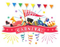 Happy Carnival. Greeting card. Colorful festive elements. White background. Happy Carnival. Greeting card with colorful festive elements separated on white Stock Image