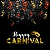 Happy carnival low poly gold mask with confetti Royalty Free Stock Photography