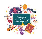 Happy carnival, masquerade, party and festive accessories. Masquerade decorative masks. Happy carnival, masquerade, party and festive accessories. Carnaval card Stock Image
