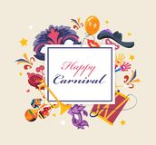 Happy carnival, masquerade, party and festive accessories. Masquerade decorative masks. Happy carnival, masquerade, party and festive accessories. Carnaval card Royalty Free Stock Photos