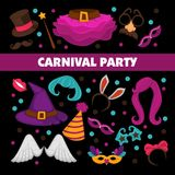 Happy carnival promotional poster with bright costume elements isolated cartoon flat vector illustrations. On black background. Colorful headdresses, elegant Royalty Free Stock Photo