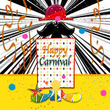 Happy carnival. Ticket with  decoration  for  party carnival Royalty Free Stock Photos