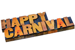 Happy carnival words in wood type Royalty Free Stock Image