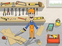 Happy carpenter character at work stock illustration