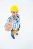 Happy carpenter showing thumbs up Royalty Free Stock Photos
