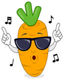 Happy Carrot Whistling with Sunglasses Stock Image