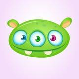Happy cartoon alien head. Vector illustration of monster head. Stock Photography