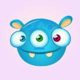 Happy cartoon alien head. Vector illustration of monster head Stock Photography