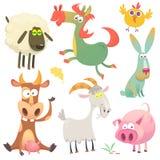 Happy cartoon animals. Farm animals. Vector illustration of cow horse chicken bunny rabbit pig goat and sheep. Happy cartoon animals. Farm animals. Vector vector illustration