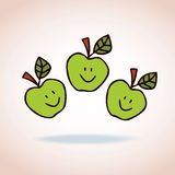 Happy cartoon apples Royalty Free Stock Photo