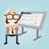 Happy cartoon architect. Illustration of a happy cartoon architect Stock Image