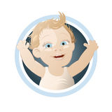 Happy cartoon baby button Stock Image