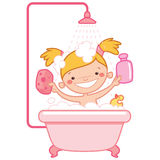 Happy cartoon baby girl kid in pink bath tub. Happy cartoon baby girl kid having bath in a bathtub holding a shampoo bottle and a scrubber and having a rubber Stock Photos