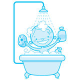 Happy cartoon baby kid in bath tub Blue version. Blue version of a happy cartoon baby kid having bath in a bathtub holding a shampoo bottle and a scrubber and Stock Photos
